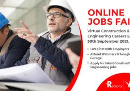 Construction & Engineering Jobs in Ireland – Online Event, 30th September, 2021
